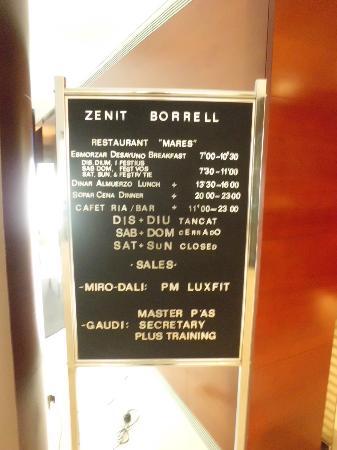 โฮเต็ล เซนิท บอร์เรลล์: Información en recepción