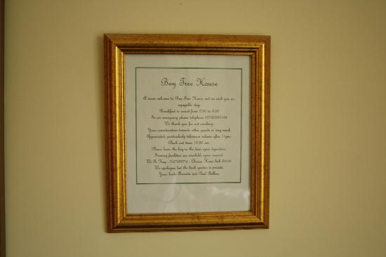 Baytree House Bed and Breakfast: Rules