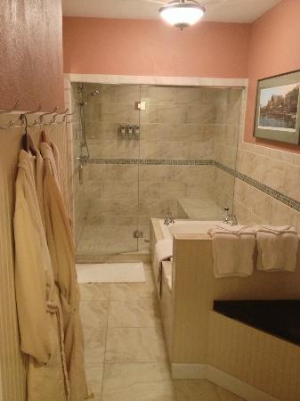 The Speckled Hen Inn Bed & Breakfast: The water park (I mean shower) in the Madison Lakes suite