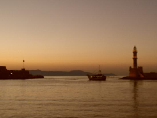 Hotel Palazzo: Sunset over Chania Harbour
