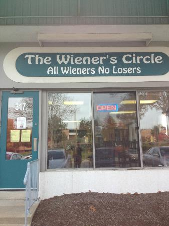 The Wiener's Circle: view from front of hot dog joint