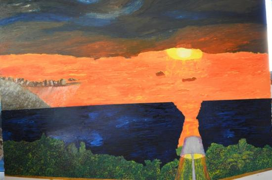 Casa de los Arcos: LATE SUMMER SUNSET OVER THE BAY OF BANDERAS, oil-on-canvas 180cm. x 220cm.