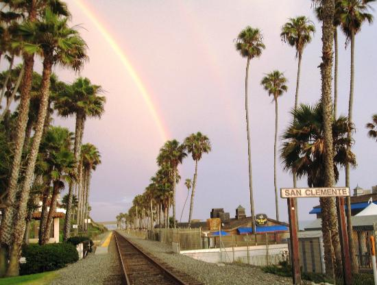 The Little Inn by the Beach: San Clemente - Rainbow over Amtrak Line at the Pier