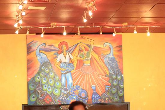 Taj of Marin: Wall painting inside the restaurant