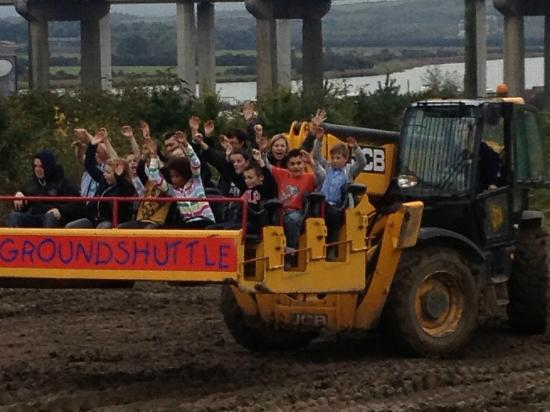 Diggerland: The whole group on the big twirly digger platform for about the 5th time