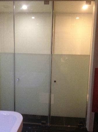 DaVinci Hotel and Suites: frosted glass doors