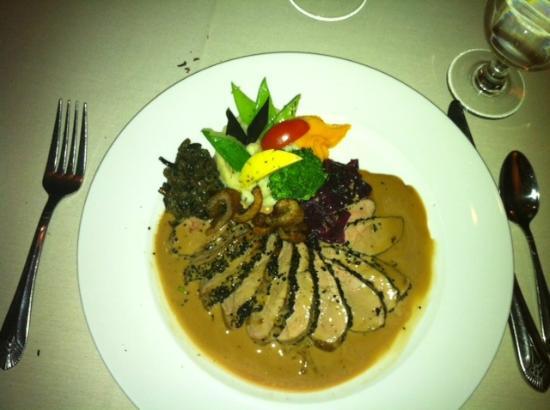 Restaurant Bouchard: Magret de Canard au Café, Sauce au Cognac Duck breast sautéed with a Coffee Crust, Finished with