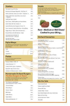 Orchard Hotel Restaurant Menu Falkirk
