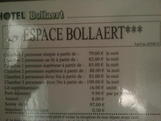 Hotel Bollaert: Les tarifs affichés dans les chambres