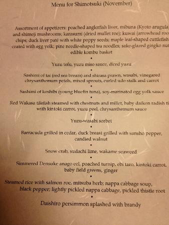 Kikunoi: menu