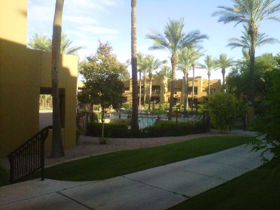 The Wigwam: View from the patio of our room of one of the pools where they offered night time Smore making.
