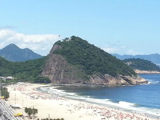 Copacabana Beach: zoomed view of Copacabana from our hotel Porto Bay