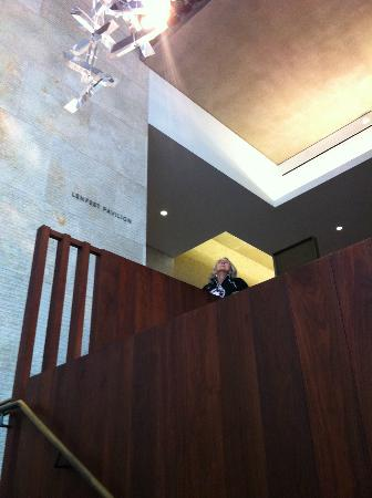 The Barnes Foundation : architectural details of wood walls on stairway