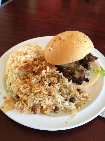 Just Grillin' : Jerk Chicken Sandwich with Rice & Peas and Coleslaw
