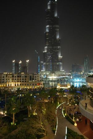 The Address Downtown Dubai: view from terrace night