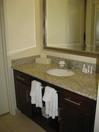 Residence Inn Pittsburgh Monroeville/Wilkins Township: Bathroom Vanity of King Room (Shower & toilet were in a separate room, just beyond vanity)