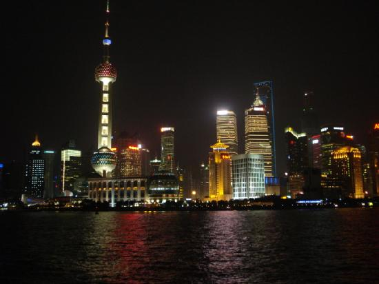 The tallest buildings in Shanghai inb their evening splendor