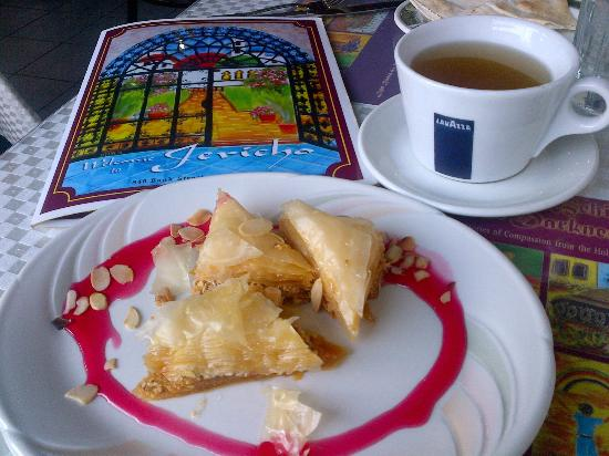 Jericho Lebanese Food : Delicious honey and mint tea with baklawas and Jericho's menu.