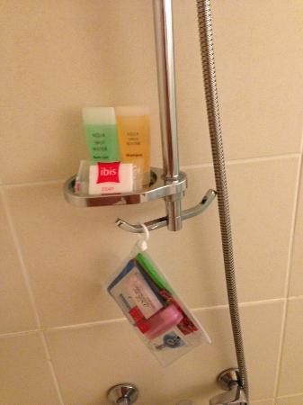 ibis Ambassador Busan City Centre: シャワーは小物置きと引っかけがあって便利。ちょっとした気遣いがうれしい。上のはホテルで頂けるシャンプー類