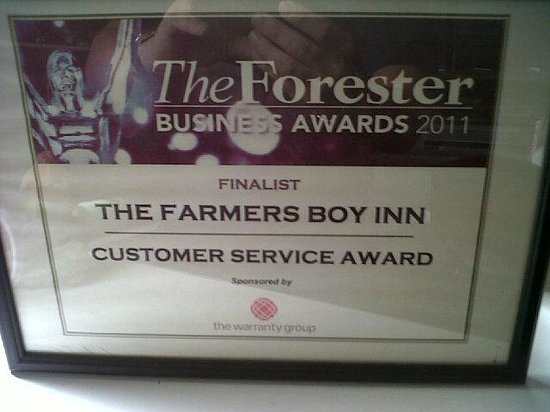The Farmers Boy Pub and Restaurant: Another Award at the FBI