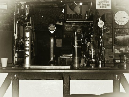 The Farmers Boy Pub and Restaurant: Black & white View of our Bar