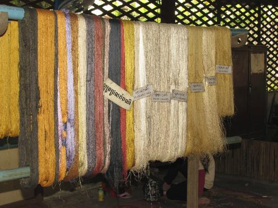 Angkor Silk Farm: A rack of dyed silk thread