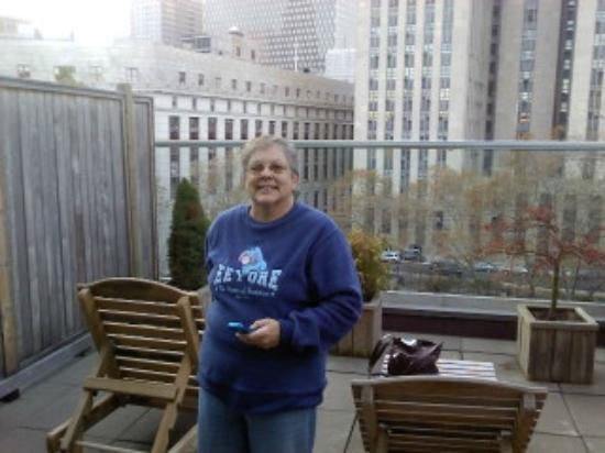 Hotel Mulberry: My mom on balcony