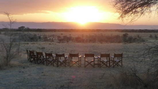 Manyara Ranch Conservancy:                   Preparing for sunset.