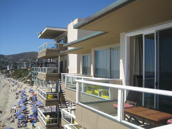 Pacific Edge Hotel on Laguna Beach: View from our balcony looking back at the other room balconies and beach