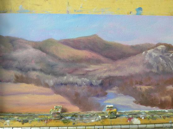 Red Jacket Mountain View Resort & Water Park: Work in Progress: painting done on Balcony of Room 227