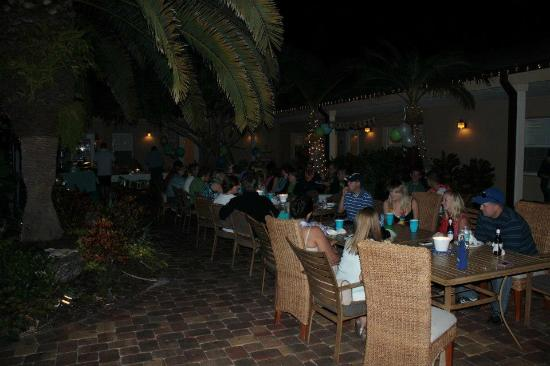 The Capri at Siesta: Eating together in the courtyard the first night we were there