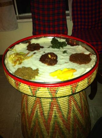 Habesha: mixed curries with Injera - delicious