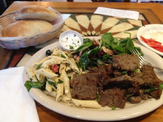 Fadi's Mediterranean Grill: beef shwarma, pasta salad and spinach salad. yumm
