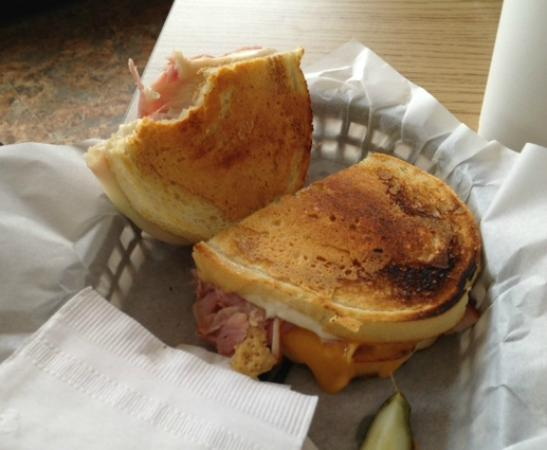 The Lunch Box: Grilled Cheese w/ ham (drink was substituted for salad)