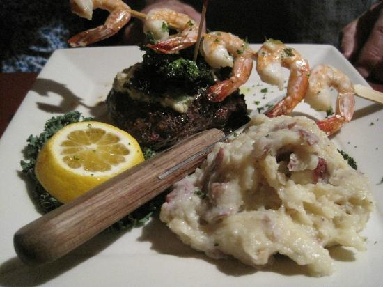 The Orchard: Horseradish encrusted fillet, grilled shrimp, garlic mashed potatoes