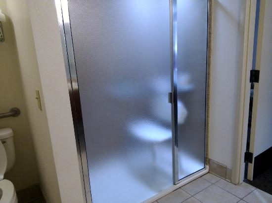 Executive Inn : nice big shower, you would be able to roll your wheelchair on in