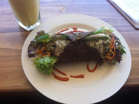 Ground Organic Living food Cafe: falafel wrap and smoothie