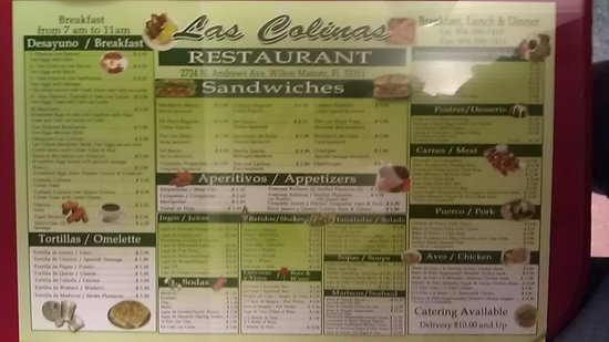 Las Colinas Menu Picture Of Las Colinas Restaurant Wilton Manors