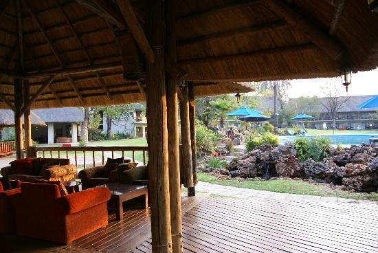 A'Zambezi River Lodge: View from bar of pool area