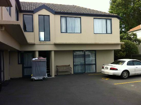 Riccarton mall motel: Rear units on south side.