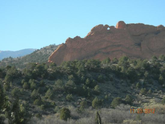 The 'kissing camels' natural rock formation in Garden of the Gods.