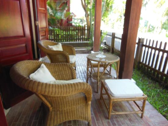 Mekong Riverview Hotel: Our private sitting area outside room 11