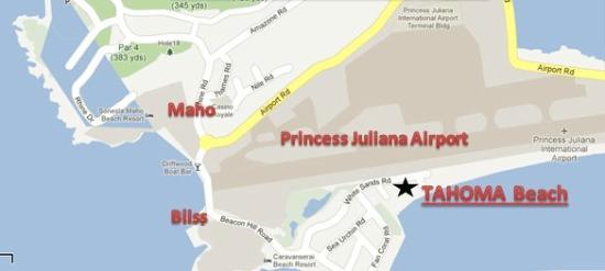 Tahoma Beach: Map to SXM Yoga Shala