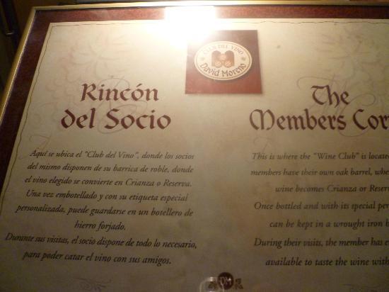 Bodegas David Moreno: Rincón del Socio