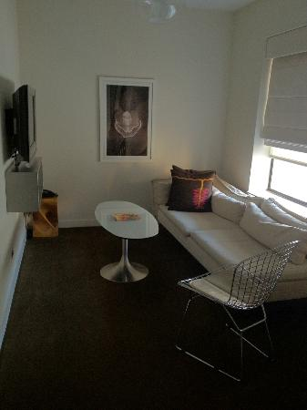 The James Chicago: The living area in our studio suite