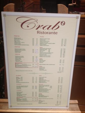 Crab : menu