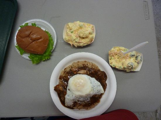 Eagles Lighthouse Cafe: Loco Moco and Hamburger w/ Potatoe Salad