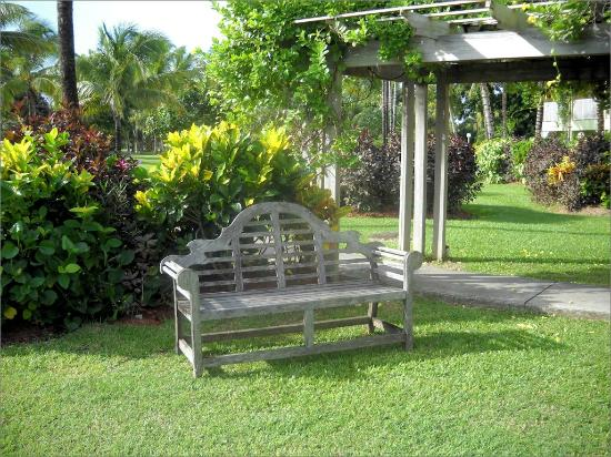 Coconut Bay Beach Resort & Spa: A garden bench on the Harmony side of the complex
