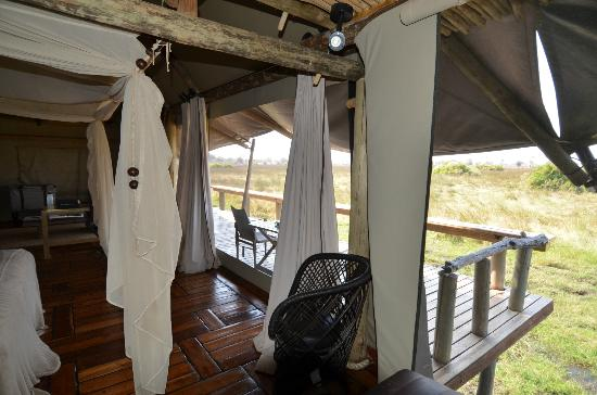 Wilderness Safaris Mombo Camp: Large porch to our room
