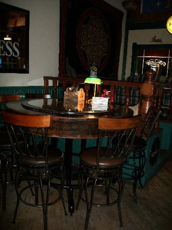 The Monarch Public House: Cool homemade table from a mold that made the damn near by